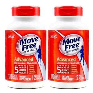 【关节日常养护】Schiff Move Free旭福维骨力氨糖软骨素片 170粒/瓶【2瓶装】